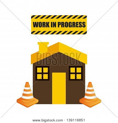 Under construction and Work in Progress concept represented by house and cone icon. Colorfull and flat illustration.