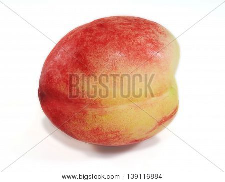 Nectarine on white background, Prunus persica nectarina