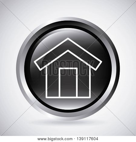 Silhouette and button concept represented by white house icon. Isolated and shiny illustration.