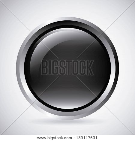 Label concept represented by black button icon. Isolated and shiny illustration.