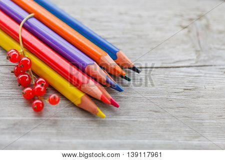 Colored Pencils And Red Currant