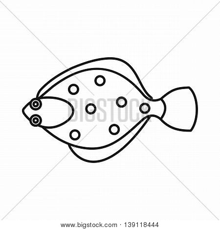 Flounder fish icon in outline style isolated vector illustration