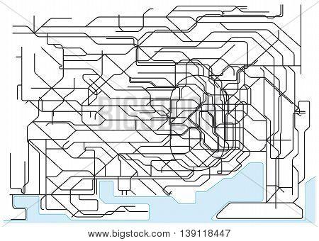 Tokyo Public Transport Scheme on White Background