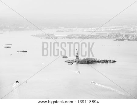 Aerial View Of Statue Of Liberty In New York