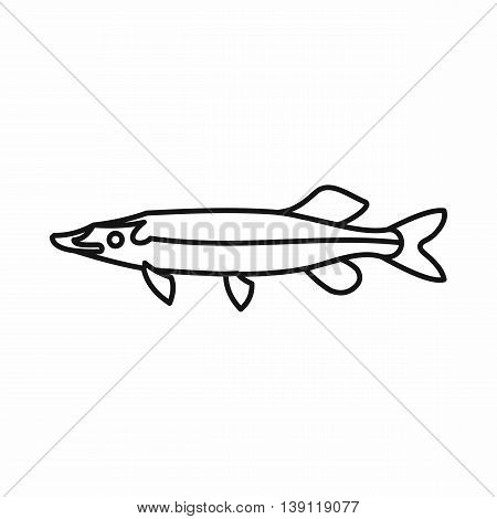 Saury icon in outline style isolated vector illustration