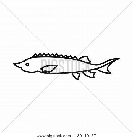 Fresh sturgeon fish icon in outline style isolated vector illustration