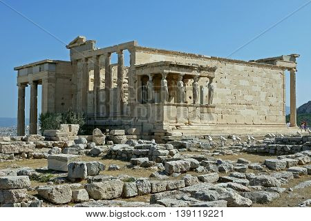 A beautiful view of Erechtheum, Athens. GREECE.
