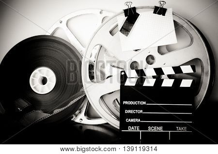Vintage Analog Movie Reel And Clapper