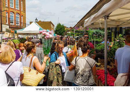 Columbia Road Flower Market In Tower Hamlets, London, Uk
