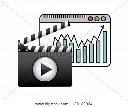 Movie concept represented by clapboard and play icon. Colorfull and flat illustration.