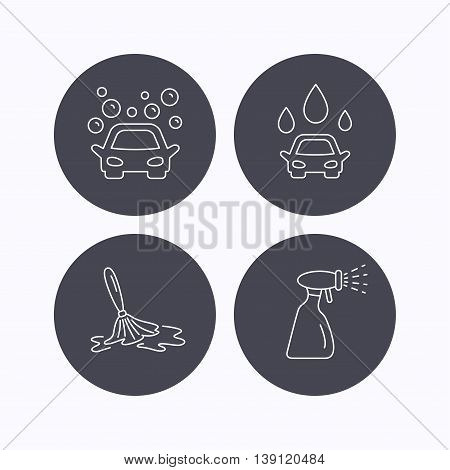Car wash icons. Automatic cleaning station linear signs. Wet cleaning and spray flat line icons. Flat icons in circle buttons on white background. Vector