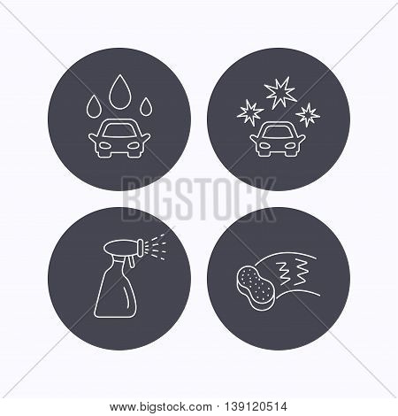 Car wash icons. Automatic cleaning station linear signs. Hand wash, sponge and spray flat line icons. Flat icons in circle buttons on white background. Vector