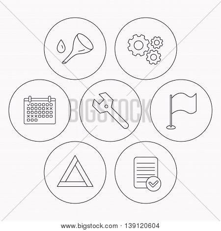 Flag pointer, emergency sign and wrench key icons. Emergency triangle, oil change linear signs. Check file, calendar and cogwheel icons. Vector