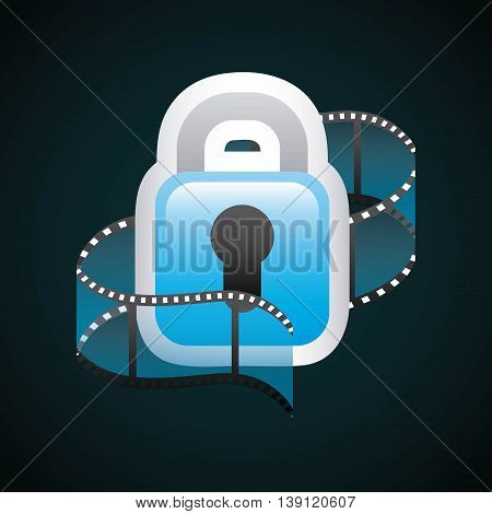 Movie concept represented by film strip and padlock icon. Colorfull and flat illustration.