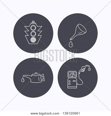 Motor oil change, traffic lights and gas station icons. Petrol station linear sign. Flat icons in circle buttons on white background. Vector
