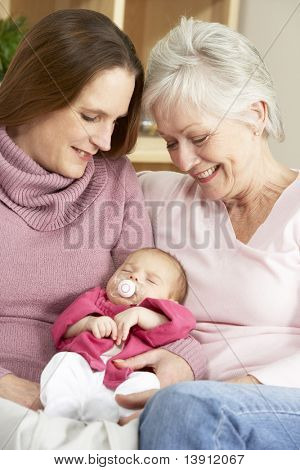 Portrait Of Grandmother, Mother And Daughter At Home