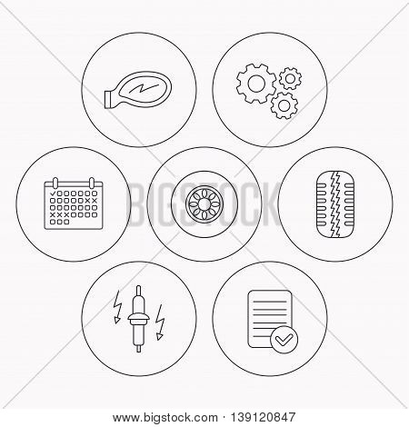 Wheel, car mirror and spark plug icons. Tire tread linear sign. Check file, calendar and cogwheel icons. Vector