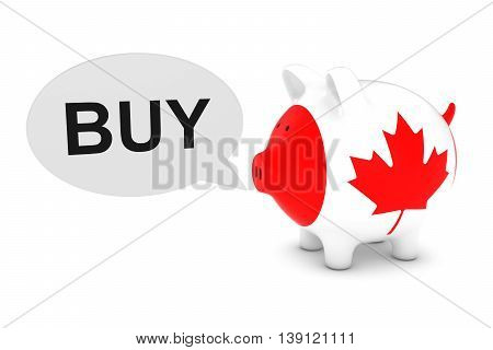 Canada Flag Piggy Bank With Buy Text Speech Bubble 3D Illustration