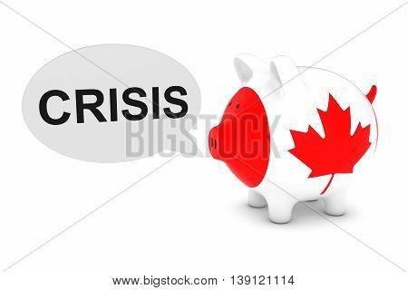 Canada Flag Piggy Bank With Crisis Text Speech Bubble 3D Illustration