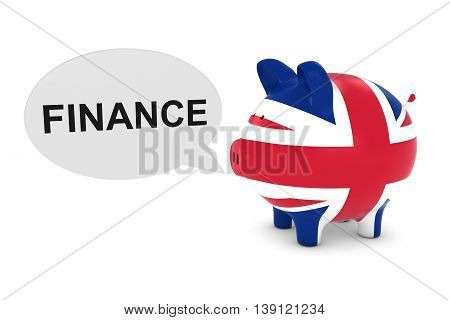 Uk Flag Piggy Bank With Finance Text Speech Bubble 3D Illustration