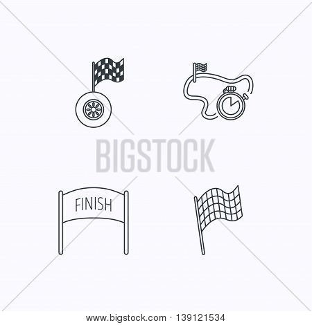 Finish flag, race timer and wheel icons. Race track linear sign. Flat linear icons on white background. Vector