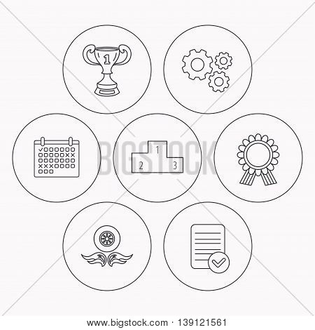 Winner cup, podium and award medal icons. Race symbol, wheel on fire linear signs. Check file, calendar and cogwheel icons. Vector