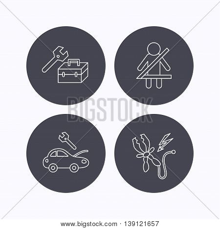 Repair, battery terminal and car service icons. Fasten seat belt linear sign. Flat icons in circle buttons on white background. Vector