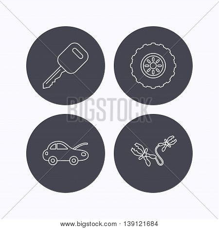 Car key, wheel and repair service icons. Battery terminal linear sign. Flat icons in circle buttons on white background. Vector