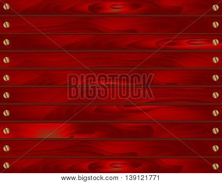 Wood texture background of red painted boards with nails. Realistic vector illustration