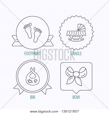 Footprint, cradle and dirty bib icons. Bow linear sign. Award medal, star label and speech bubble designs. Vector