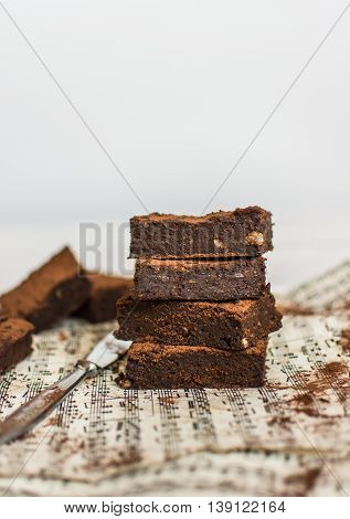 Healthy and delicious vegan brownie with adzuki beans