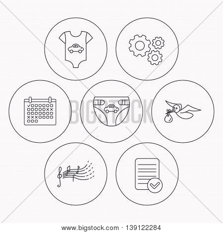 Diapers, newborn clothes and songs for kids icons. Stork with sack linear sign. Check file, calendar and cogwheel icons. Vector
