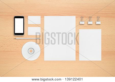 Template for branding identity - smartphone business cards pencil cd or dvd letterheads binder clips.