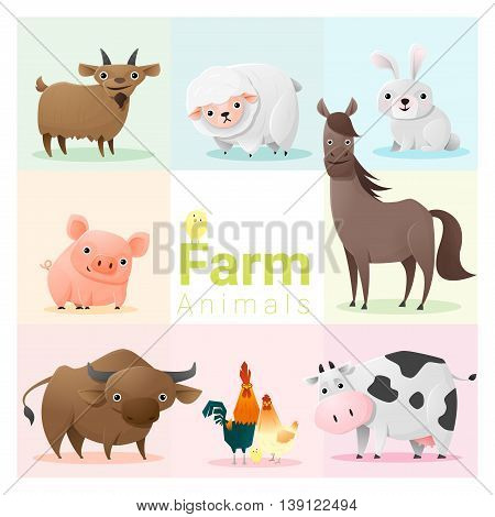 Set of farm animals , vector , illustration