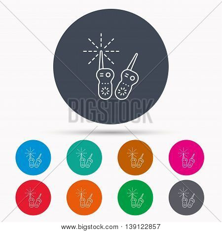 Baby monitor icon. Nanny for newborn sign. Radio set symbol. Icons in colour circle buttons. Vector