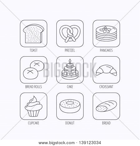 Croissant, pretzel and bread icons. Cupcake, cake and sweet donut linear signs. Pancakes, toast and bread rolls flat line icons. Flat linear icons in squares on white background. Vector
