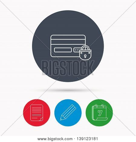 Blocked credit card icon. Shopping sign. Calendar, pencil or edit and document file signs. Vector