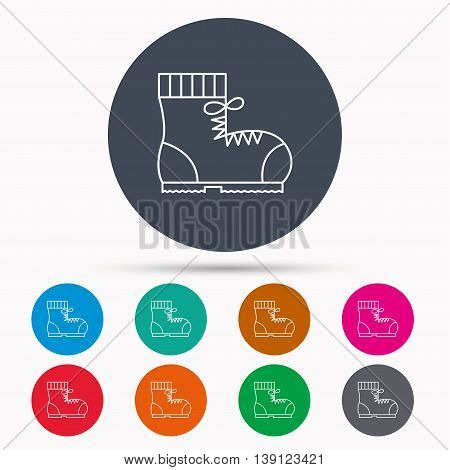 Boot icon. Hiking or work shoe sign. Military footwear symbol. Icons in colour circle buttons. Vector