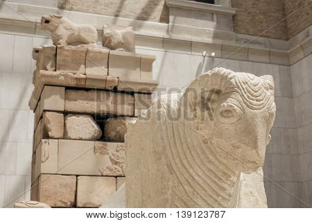 Madrid Spain - July 10 2016: Mausoleum of Pozo Moro at National Archeological Museum of Madrid