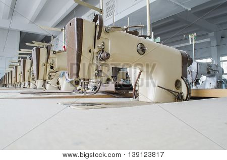 garment factory with the old equipment in the clean room