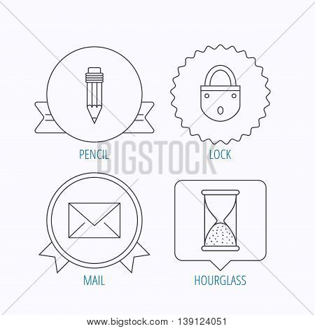 Mail envelope, pencil and lock icons. Hourglass linear sign. Award medal, star label and speech bubble designs. Vector