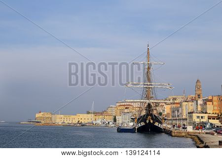 GAETA ITALY - JUNE 25 2016: The three masted Palinuro a historic Italian Navy training barquentine moored in the Gaeta port.