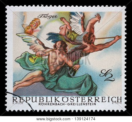 ZAGREB, CROATIA - JULY 03: A stamp printed in Austria, is shown Angels, from Last Judgment by Troger (Rohrenbach-Greillenstein Chapel), circa 1968, on July 03, 2014, Zagreb, Croatia