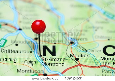 St-Amand-Montrond pinned on a map of France