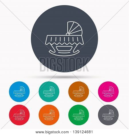 Baby cradle bed icon. Child crib sign. Newborn sleeping cot symbol. Icons in colour circle buttons. Vector