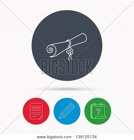 Diploma icon. Graduation document sign. Scroll symbol. Calendar, pencil or edit and document file signs. Vector