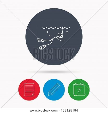 Diving icon. Swimming underwater with tube sign. Scuba diving symbol. Calendar, pencil or edit and document file signs. Vector