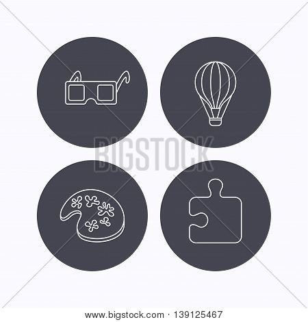 Puzzle, painting and air balloon icons. 3d glasses linear sign. Flat icons in circle buttons on white background. Vector