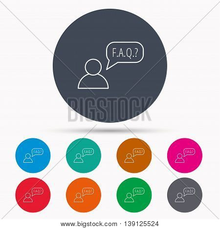 FAQ service icon. Support speech bubble sign. Human symbol. Icons in colour circle buttons. Vector