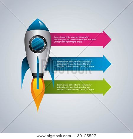 Infographic concept represented by rocket icon. Colorfull and flat illustration.